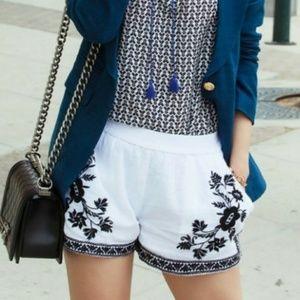 J. Crew Black & White Embroidered Shorts